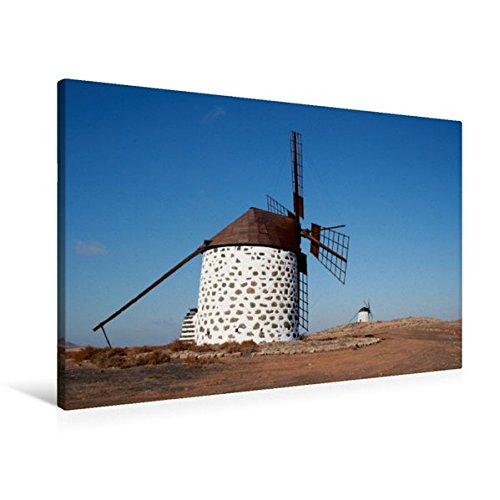 Preisvergleich Produktbild Premium Textil-Leinwand 90 cm x 60 cm quer, Windmühle in Fuerteventura   Wandbild, Bild auf Keilrahmen, Fertigbild auf echter Leinwand, Leinwanddruck: ... Ferieninsel Fuerteventura, (CALVENDO Natur)