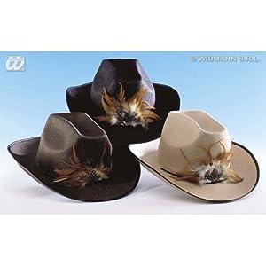 WIDMANN PK 6 FELT COW-BOY HATS W/FEATHER-BLACK,BROWN,BEIGE