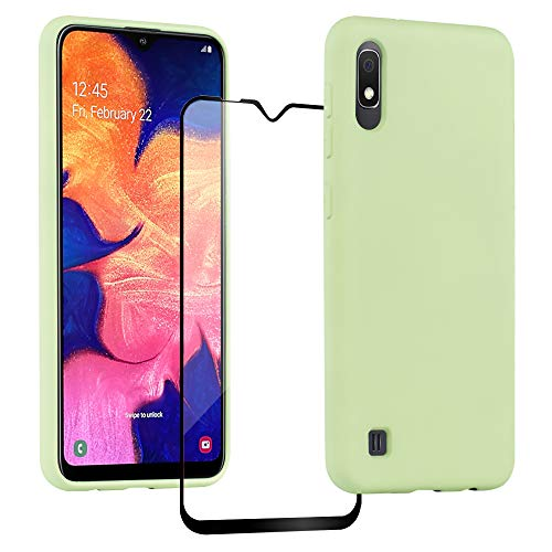 Wanxideng flüssige Silikonhülle Hülle für Samsung Galaxy A10 + Panzerglas Displayschutzfolie, Silikon Gel-Gummi Stoßfest Case - Matcha Green
