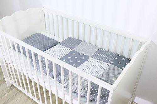 ULLENBOOM ® Babybettwäsche Set Graue Sterne (2 tlg. Baby Bettset: Kissenbezug 35x40 cm & Bettdeckenbezug 80x80 cm, Motiv: Sterne, Patchwork Design)
