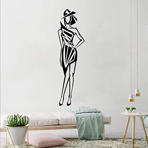 Schöne Mode Modell Wandaufkleber Schlanke Figur Wand Vinyl Aufkleber Schönheitssalon Dekor Dame Abbildung Vinyl Wandkunst Wandbilder 42X152 Cm