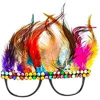 LUOEM Carnaval Gafas Fiesta Foto Accesorios Pluma Anteojos Suministros Favores Divertido Colorido