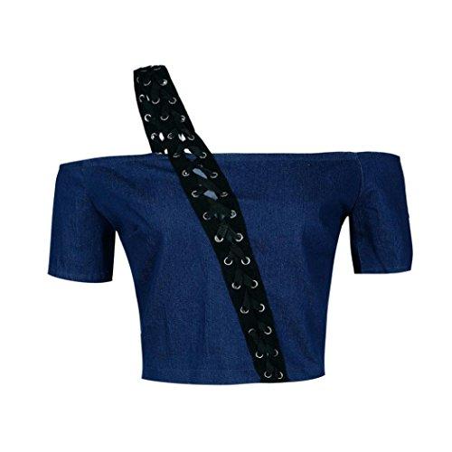 LILICAT Damen Casual Bandage Denim Crop Top Schulterfrei Kurzarm Jeansbluse Frauen Elegent Cowboy Feierliche Anlässe T shirt Vintage DenimHemd Blau