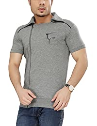 Tees Collection Men's Cotton Half Sleeve Side Zipper Grey Color Stylish T-Shirt With Collar