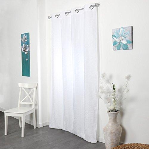 Douceur d'interieur, tenda a occhielli, in poliestere, colore: bianco, 140x260 cm
