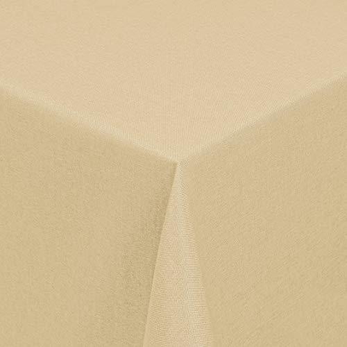 Leinen Optik Tischdecke Tischtuch Tafeldecke Leinendecke Abwaschbar Wasserabweisend Eckig 130 x 340 cm Champagner Fleckschutz Pflegeleicht mit Saumrand Leinentuch (Leinen-servietten Champagner)