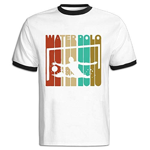 8d47183b99 FFMMdog Men's Crewneck Vintage Style Water Polo Silhouette Short-Sleeve  T-Shirts Color Block