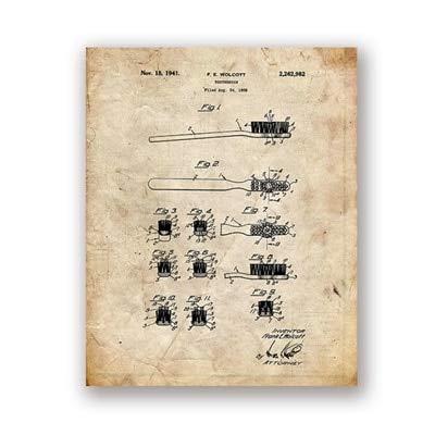 ziweipp Badezimmer-Patent-Lichtpausen-Weinlese-Plakat-Wand-Kunst-Druck-Badezimmer-Dekor, Friseur-Geschenke, die Foto für Friseur 50 * 70cm malen -