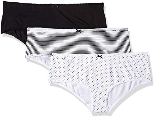 Iris & Lilly Damen Hipster mit unterschiedlichen Mustern im 3er-Pack, Mehrfarbig (Black/Print), Medium