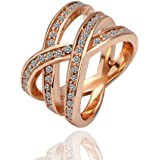MAKINO 18K Rose Glod Plated AAA Cubic Zirconia Ring For Lady Party Birthday Gift Present Valentine's Day -Color:Rose Gold
