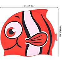 Dwawoo Gorro de baño para niños, Gorro de baño de Silicona para niños pequeños Gorro de baño Gorro de baño para niños, niñas y niñas: diseño en Forma de pez Divertido(Rojo)