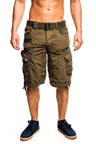 Herren Kurze Wirkung (4C4 Geographical Norway People Herren Bermuda Shorts Kurze Hose Khaki XL)