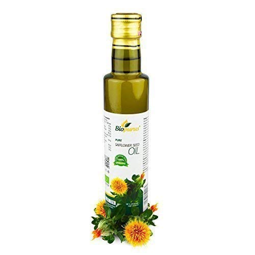 Certificado Orgánico Prensado en Frío Cártamo Aceite de Semillas 250ml Biopurus
