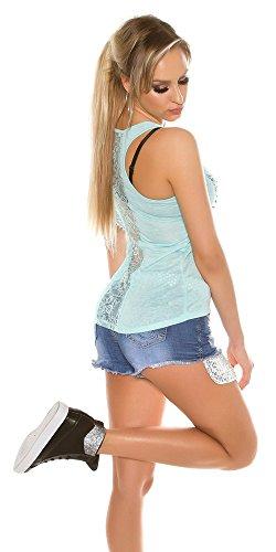KouCla Trendy Top mit Perlen, Strass und Spitze   Einheitsgröße   Durchsichtig Am Rücken   Ärmelfrei   T-Shirt Grau