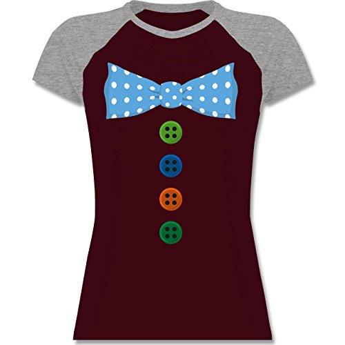 ... Damen Burgundrot/Grau meliert. Shirtracer Karneval & Fasching - Clown  Kostüm Blaue Fliege - Zweifarbiges Baseballshirt/Raglan T-