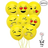 nuoshen 60 pcs Emoji Funny Balloons, Emoji Party Balloons Funny Emoji for Party, Wedding, Birthday, Festival Decoration(12 Inch)