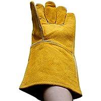RFVBNM guantes de Soldadura de Cuero Barbacoa Horno microondas Guantes de protección Resistente al Calor manipulación de Carga y Descarga de Guantes, Amarillo