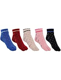 SIDEWOK Ankle Length Floral Printed Cotton Colourful Thumb Socks For Women/Girls-Combo of 5 Pair Free Size(SCS-WS-02)
