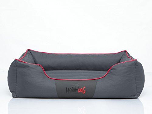 Hundebett Schlafplatz Hundekissen Comfort Große: XL Farbe: grau mit rot