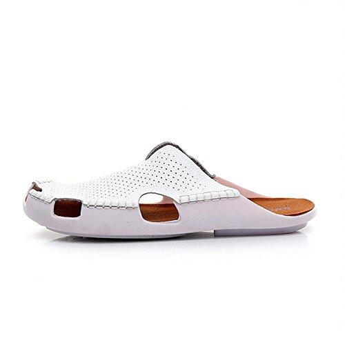 Heart&M Nouvelle Marque Femmes Toe Fermé Bas talon plat Sole creux en cuir véritable Pantoufles Sandales Chaussures de plage White