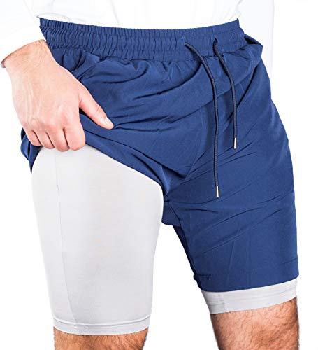 RR Sports 2 in 1 Laufshorts Herren Dual Shorts kurz Zwei Taschen Fitness Gym