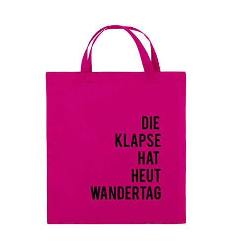 Comedy Jutebeutel kurze Schwarz Schwarz WANDERTAG Pink Farbe Pink 38x42cm Bags DIE Henkel KLAPSE HAT HEUT rnBCrYqW