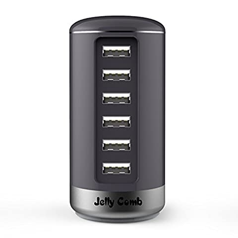 Jelly Comb Fast Charging 6-Port Desktop USB Charging Station with Smart Identification Technology for Apple iOS, Android, Virtually all Other USB Compatible Devices - Grey