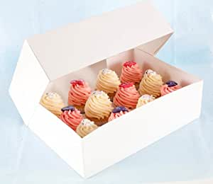 "4"" DEEP Strong White 12 Cake Cupcake Muffin Box & Inner Tray by The Baker Shop"