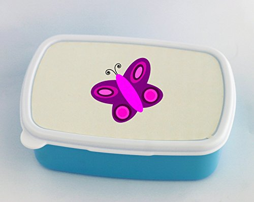 Blue lunch box with simple butterfly