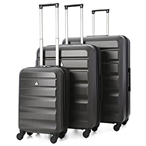 Aerolite Super Lightweight 3 Piece ABS Hard Shell Travel Suitcase Luggage Set with 4 Wheels (Blue)