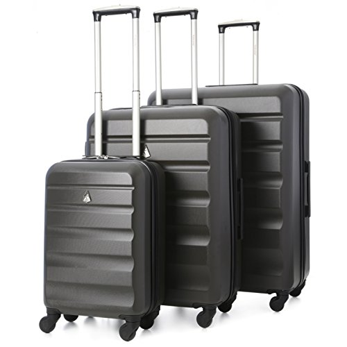 Aerolite Lightweight 4 Wheel ABS Hard Shell Luggage Suitcase Travel Trolley (3 Piece Set, 21