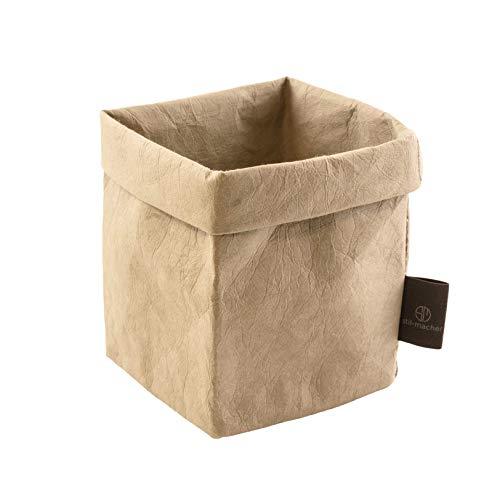 stil-macher Designer Krempelkorb GRAU - Gr. S - 9x9x16cm| Aufbewahrungskorb aus waschbarem Papier | Lederoptik durch VEGAN Leder | Deko-Box | Geschenkbox | Übertopf | in Zwei tollen Farben