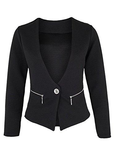Eleganter Damen Blazer mit Taschen ( 415 ), Farbe:Schwarz, Kostüme & Blazer für Damen:40 / (Dame Kostüme Elegante)