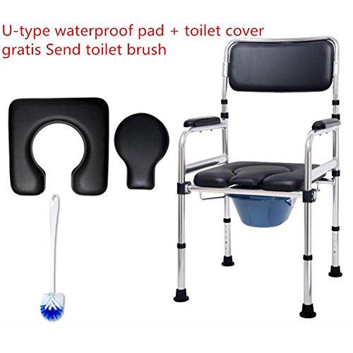 HYHAN Klappsessel Becken Bad Stuhl aus Aluminium WC Sitz Stuhl-Bad Bad Stuhl Rollstuhl für Behinderte von Mobilität/ältere (Rad inkl./ohne Rad Zwei Optionen)