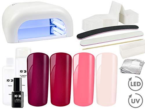 Premium SHELLAC UV Nagellack STARTER-SET mit LICHTGERÄT + 4 x Shellac UV Nagellack ROT ROSE PINK PEARLY Farben + Schellack Base Top Coat + Remover + viel Zubehör - Nageldesign BESTSELLER