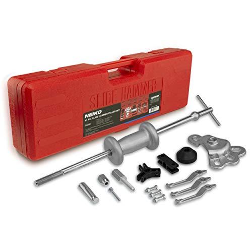 Neiko® 02236ein Automotive Slide Hammer Abzieher-Set, Stahl T-Griff und Chrom-Vanadium-Stahl attachments| 17-teilig -