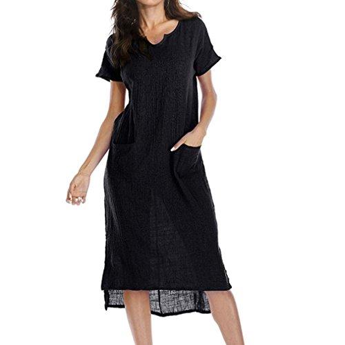Happy Event_Women Dresses Frauen-beiläufige Lose V-Colla Taschen-Taillen-Rand-Asymetrisches Partei-Strand-Kleid, Große Größe (Schwarz, XL)