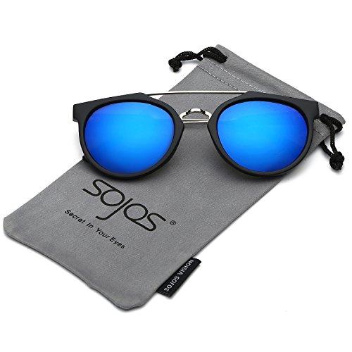 Galleria fotografica SOJOS Schick classico retrò ponti metallici doppio specchio rotondo occhiali da sole per Uomo Donna