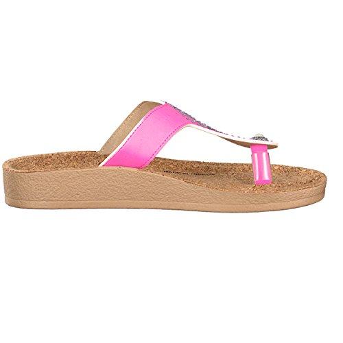 brandsseller Damen Schuh Zehenpantolette Zehentrenner Freizeitschuh Strandschuh - mit Strass und Korkfußbett - Farbe: Schwarz, 37