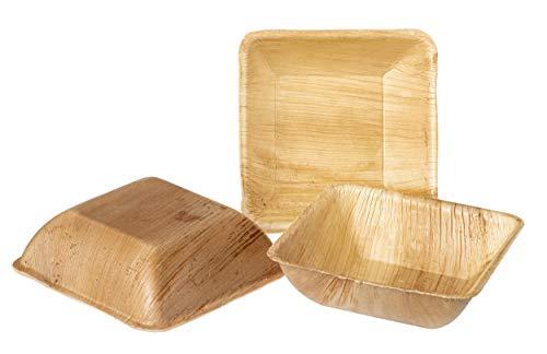 IMSCO Palmblatt-Einweggeschirr | 25 Snackschalen | Suppenschalen quadratisch 15x15cm | hochwertiges unbehandeltes, umweltfreundliches biologisches, und kompostierbares Wegwerfgeschirr