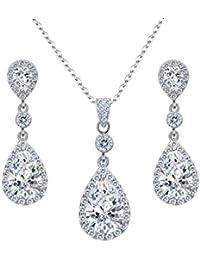 Liefern Hochzeit Brautjungfer Frauen Silber Farben Strass Halskette Ohrringe Prom Schmuck Set Schmucksets & Mehr Schmuck Sets