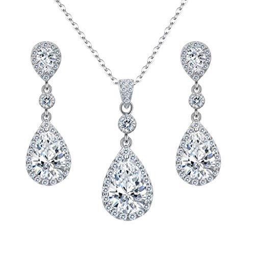 Clearine Damen 925 Sterling Silber Hochzeit Braut Cubic Zirconia Unendlichkeit Tropfen Anhänger Halskette Dangle Ohrringe Schmuck Set Klar