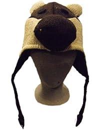Chapeau Animal pour Enfants - Ours, 100 % Laine, Tricoté a la main, Commerce Equitable