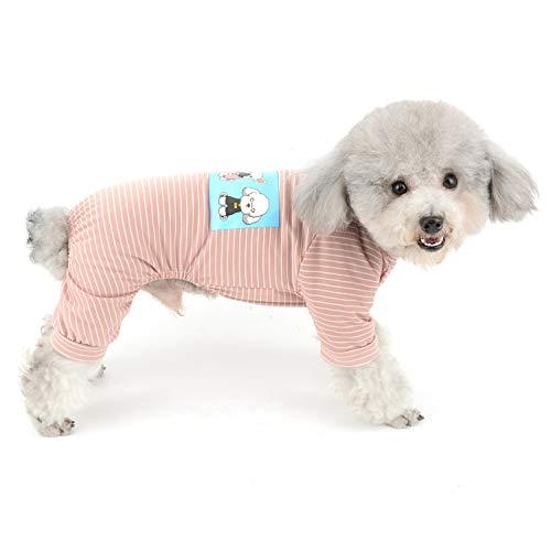 SELMAI Haustier-Schlafanzug für kleine Hunde, Baumwolle, gestreift, weich, Chihuahua-Kleidung -