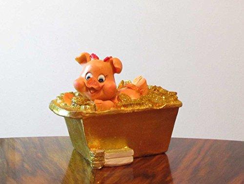 Spardose Schwein in Geld Badewanne Glücksschwein (Poly Badewanne)