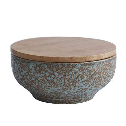 nische Art Keramikschale Mit Deckel Kreative Ramen Suppe Schüssel Retro Green Geschirr Schüssel 6 Zoll Salatschüssel (größe : Bowl+Cover) ()