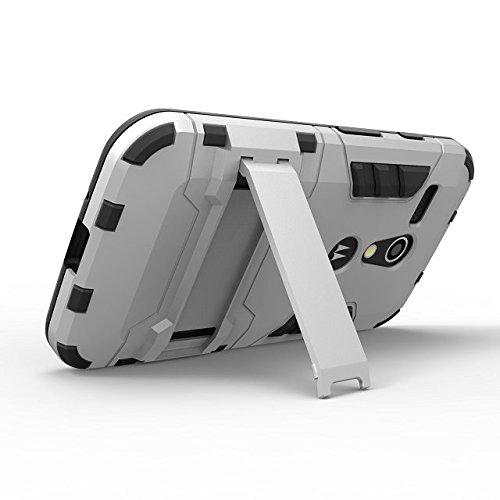 Moto G cas Lantier [peau de maturité de son style] 2 en 1 combo robuste à double couche [cas grave] effets de robots de glissement hybride amovibles de couverture avancée armure de silicone enclencher Moto G argent