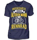 Alter Mann Rennradfahrer Fahrradfahrer Rennrad Radsport Geschenk - Herren V-Neck Shirt -S-Dunkel-Blau