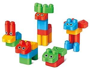 PolyM 760004Reino de los Animales niños pequeños de Juguete, Flexible y rundkantige Ladrillos