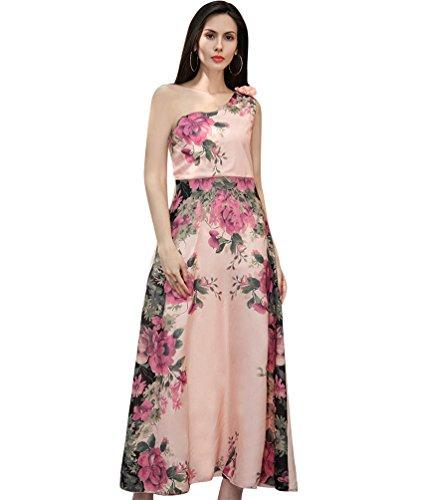 NiSeng Damen Blumen-Druck Langes Kleid Frauen Chiffon Strandkleider Cocktailkleid Abendkleid XJ